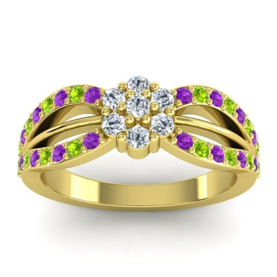 Simple Floral Pave Kalikda Diamond Ring with Peridot and Amethyst in 18k Yellow Gold