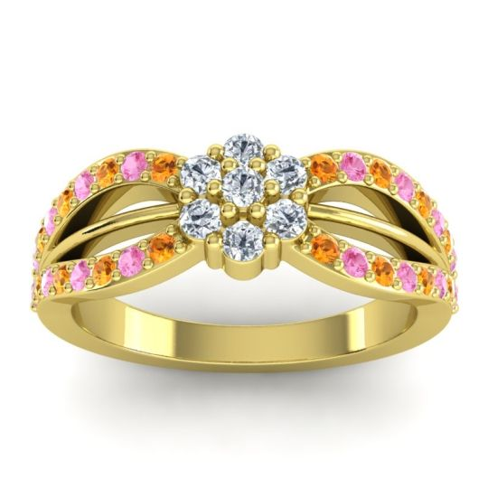 Simple Floral Pave Kalikda Diamond Ring with Pink Tourmaline and Citrine in 14k Yellow Gold