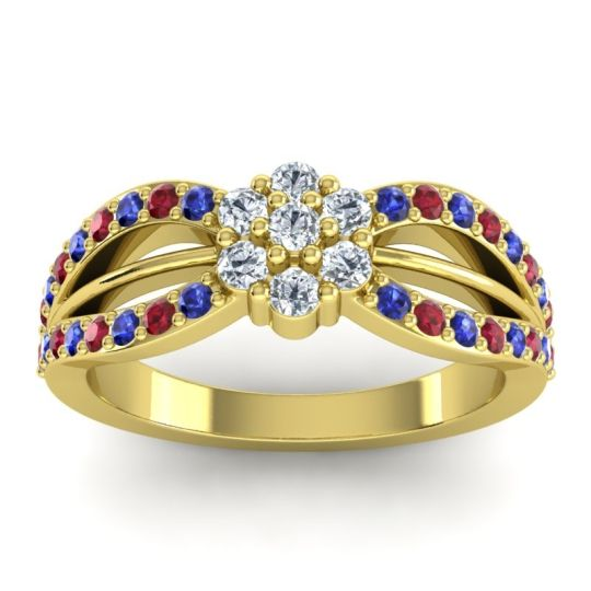 Simple Floral Pave Kalikda Diamond Ring with Ruby and Blue Sapphire in 18k Yellow Gold