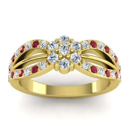 Simple Floral Pave Kalikda Diamond Ring with Ruby in 14k Yellow Gold