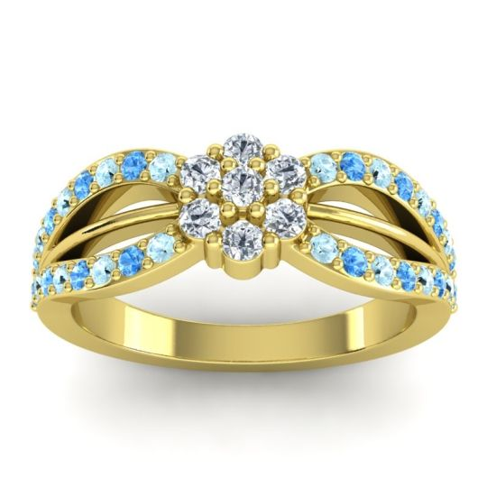 Simple Floral Pave Kalikda Diamond Ring with Swiss Blue Topaz and Aquamarine in 18k Yellow Gold