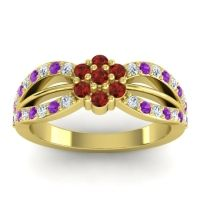 Simple Floral Pave Kalikda Garnet Ring with Amethyst and Diamond in 14k Yellow Gold