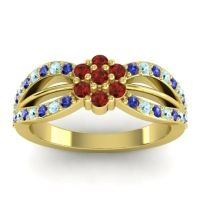Simple Floral Pave Kalikda Garnet Ring with Aquamarine and Blue Sapphire in 18k Yellow Gold