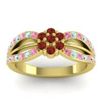 Simple Floral Pave Kalikda Garnet Ring with Aquamarine and Pink Tourmaline in 18k Yellow Gold