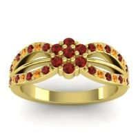 Simple Floral Pave Kalikda Garnet Ring with Citrine in 18k Yellow Gold