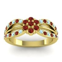 Simple Floral Pave Kalikda Garnet Ring with Aquamarine in 18k Yellow Gold