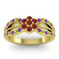 Simple Floral Pave Kalikda Garnet Ring with Peridot and Amethyst in 14k Yellow Gold