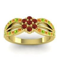 Simple Floral Pave Kalikda Garnet Ring with Peridot and Citrine in 18k Yellow Gold