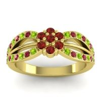 Simple Floral Pave Kalikda Garnet Ring with Ruby and Peridot in 14k Yellow Gold