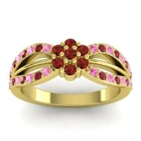 Simple Floral Pave Kalikda Garnet Ring with Ruby and Pink Tourmaline in 14k Yellow Gold