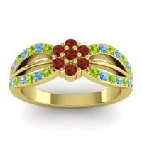 Simple Floral Pave Kalikda Garnet Ring with Swiss Blue Topaz and Peridot in 18k Yellow Gold