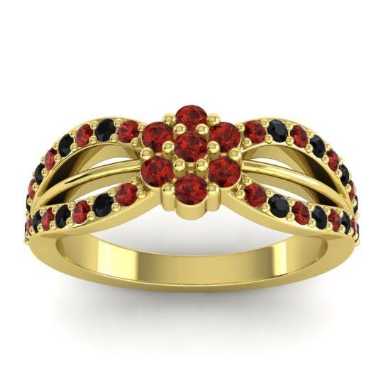Simple Floral Pave Kalikda Garnet Ring with Black Onyx in 18k Yellow Gold