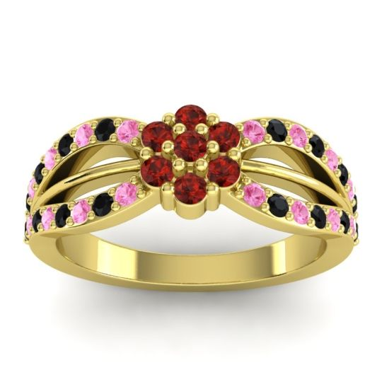 Simple Floral Pave Kalikda Garnet Ring with Black Onyx and Pink Tourmaline in 14k Yellow Gold