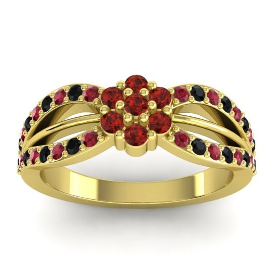 Simple Floral Pave Kalikda Garnet Ring with Black Onyx and Ruby in 18k Yellow Gold