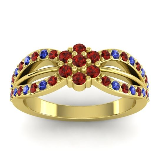 Simple Floral Pave Kalikda Garnet Ring with Blue Sapphire in 18k Yellow Gold