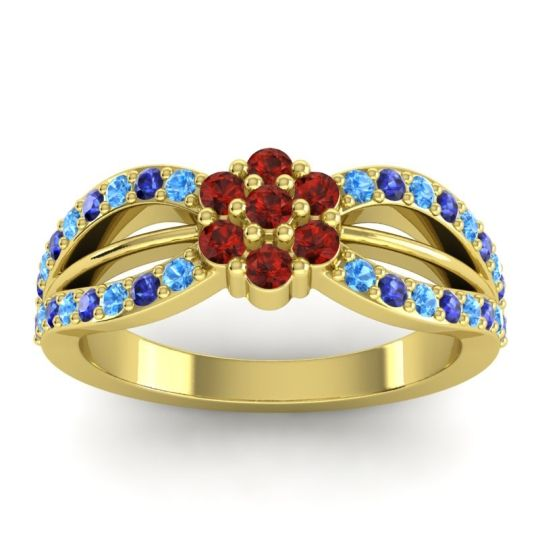 Simple Floral Pave Kalikda Garnet Ring with Blue Sapphire and Swiss Blue Topaz in 18k Yellow Gold