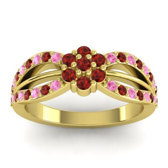 Simple Floral Pave Kalikda Garnet Ring with Pink Tourmaline in 18k Yellow Gold