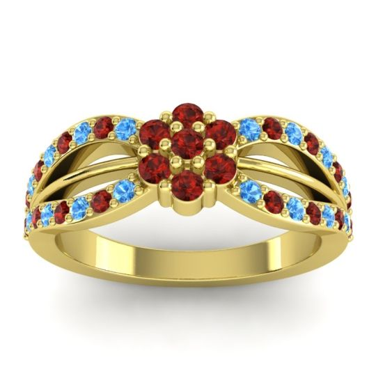 Simple Floral Pave Kalikda Garnet Ring with Swiss Blue Topaz in 18k Yellow Gold