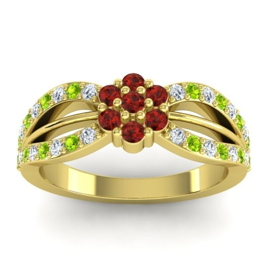 Simple Floral Pave Kalikda Garnet Ring with Peridot and Diamond in 14k Yellow Gold