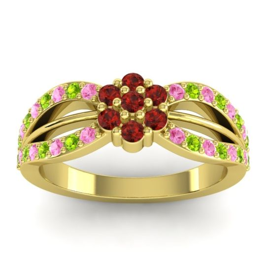 Simple Floral Pave Kalikda Garnet Ring with Peridot and Pink Tourmaline in 18k Yellow Gold
