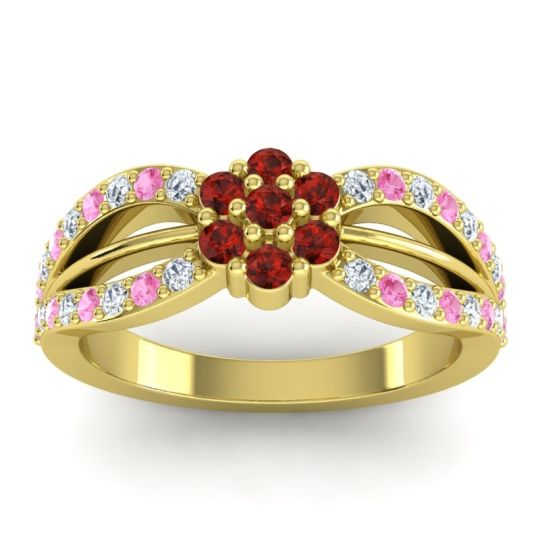 Simple Floral Pave Kalikda Garnet Ring with Pink Tourmaline and Diamond in 18k Yellow Gold