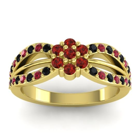 Simple Floral Pave Kalikda Garnet Ring with Ruby and Black Onyx in 14k Yellow Gold