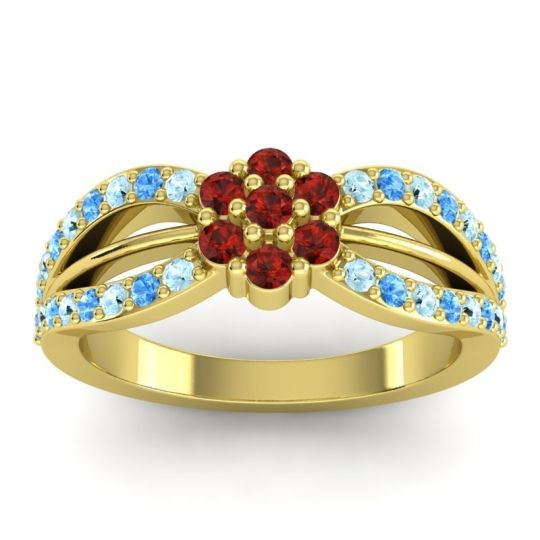 Simple Floral Pave Kalikda Garnet Ring with Swiss Blue Topaz and Aquamarine in 14k Yellow Gold