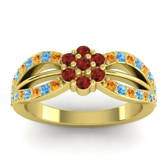 Simple Floral Pave Kalikda Garnet Ring with Swiss Blue Topaz and Citrine in 18k Yellow Gold
