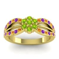 Simple Floral Pave Kalikda Peridot Ring with Amethyst and Citrine in 18k Yellow Gold