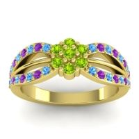 Simple Floral Pave Kalikda Peridot Ring with Amethyst and Swiss Blue Topaz in 18k Yellow Gold