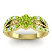 Simple Floral Pave Kalikda Peridot Ring with Aquamarine in 14k Yellow Gold
