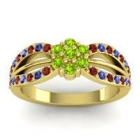 Simple Floral Pave Kalikda Peridot Ring with Blue Sapphire and Garnet in 14k Yellow Gold