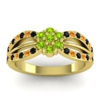 Simple Floral Pave Kalikda Peridot Ring with Citrine and Black Onyx in 18k Yellow Gold