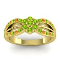 Simple Floral Pave Kalikda Peridot Ring with Citrine in 14k Yellow Gold