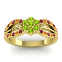 Simple Floral Pave Kalikda Peridot Ring with Citrine and Ruby in 18k Yellow Gold