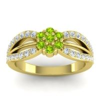 Simple Floral Pave Kalikda Peridot Ring with Diamond in 14k Yellow Gold