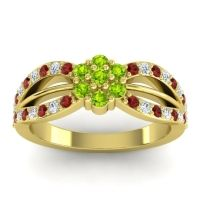 Simple Floral Pave Kalikda Peridot Ring with Diamond and Garnet in 18k Yellow Gold