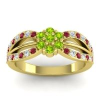 Simple Floral Pave Kalikda Peridot Ring with Diamond and Ruby in 18k Yellow Gold