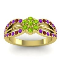Simple Floral Pave Kalikda Peridot Ring with Garnet and Amethyst in 18k Yellow Gold