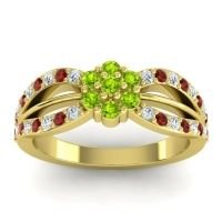 Simple Floral Pave Kalikda Peridot Ring with Garnet and Diamond in 14k Yellow Gold