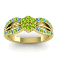 Simple Floral Pave Kalikda Peridot Ring with Swiss Blue Topaz in 14k Yellow Gold