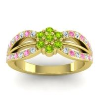 Simple Floral Pave Kalikda Peridot Ring with Pink Tourmaline and Diamond in 18k Yellow Gold