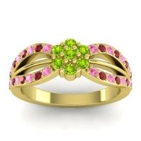 Simple Floral Pave Kalikda Peridot Ring with Ruby and Pink Tourmaline in 14k Yellow Gold
