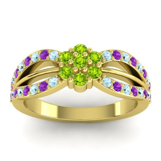 Simple Floral Pave Kalikda Peridot Ring with Amethyst and Aquamarine in 18k Yellow Gold