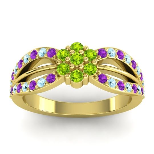 Simple Floral Pave Kalikda Peridot Ring with Aquamarine and Amethyst in 14k Yellow Gold