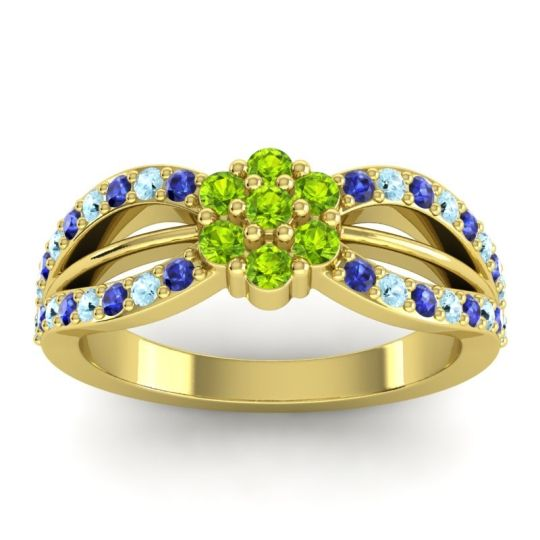 Simple Floral Pave Kalikda Peridot Ring with Aquamarine and Blue Sapphire in 14k Yellow Gold