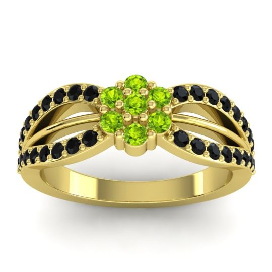 Simple Floral Pave Kalikda Peridot Ring with Black Onyx in 14k Yellow Gold
