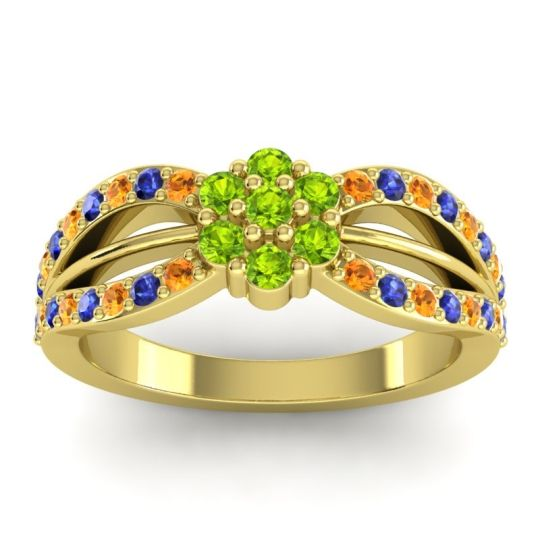 Simple Floral Pave Kalikda Peridot Ring with Blue Sapphire and Citrine in 18k Yellow Gold