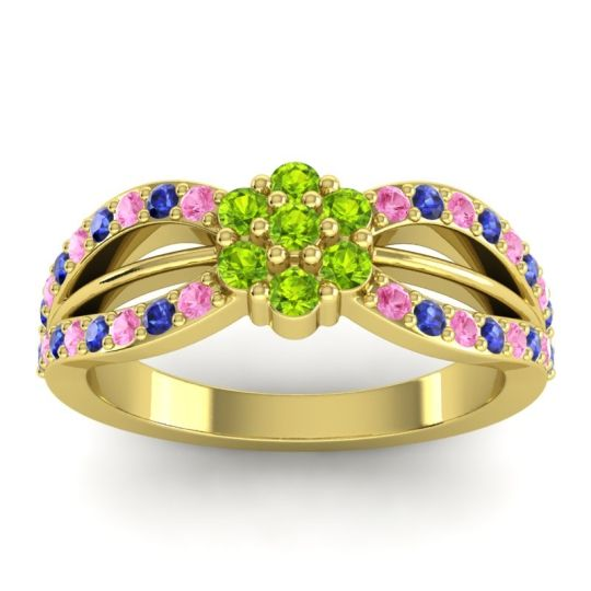 Simple Floral Pave Kalikda Peridot Ring with Blue Sapphire and Pink Tourmaline in 18k Yellow Gold