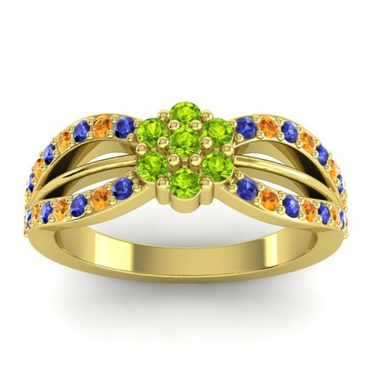Simple Floral Pave Kalikda Peridot Ring with Citrine and Blue Sapphire in 14k Yellow Gold
